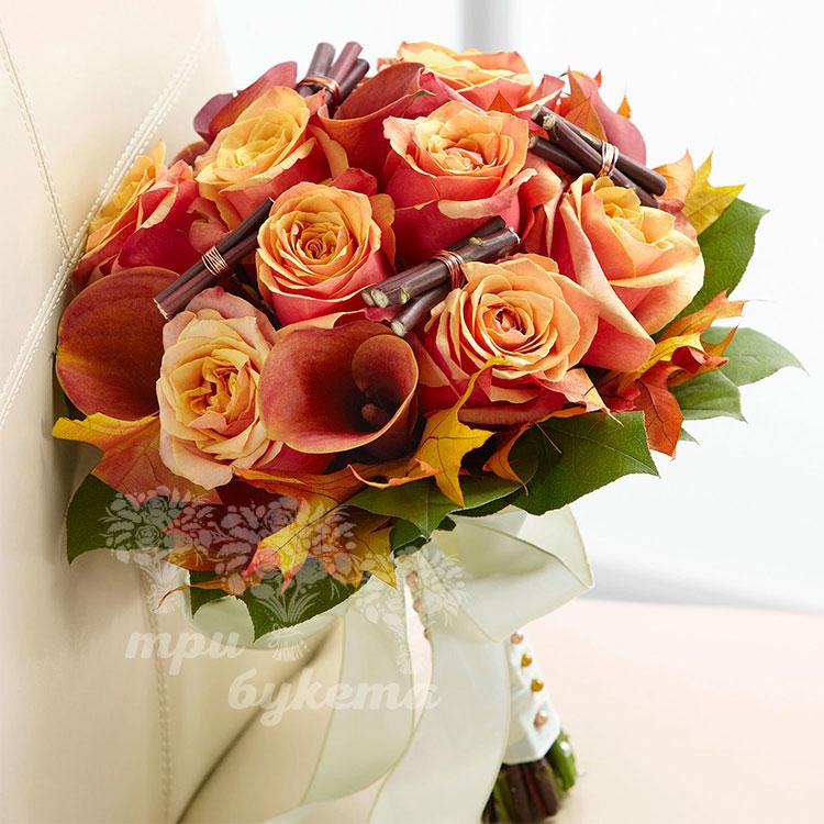 Букет невесты из калл и роз «Осеннее счастье»