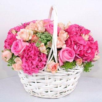 Корзина гортензий и роз