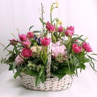 Корзина тюльпанов и гортензий