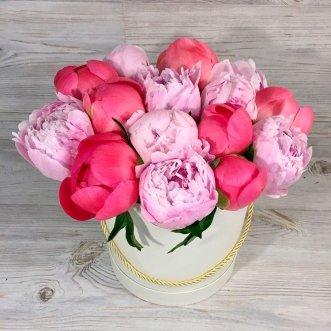Красные и розовые пионы в коробке